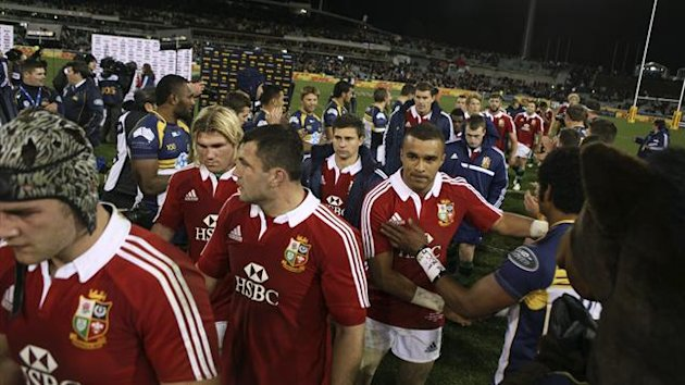 British and Irish Lions leave the field after losing their trial match against the ACT Brumbies at Canberra