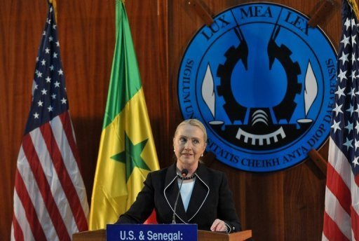 <p>US Secretary of State Hillary Clinton speaks during a press conference at Dakar University on August 1. US Secretary of State Hillary Clinton arrived in the Ugandan capital Kampala, which has been hit by an Ebola outbreak and where she will spend one night before heading to South Sudan.</p>