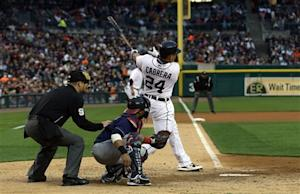 Tigers beat Indians 10-4 behind Fielder, Cabrera