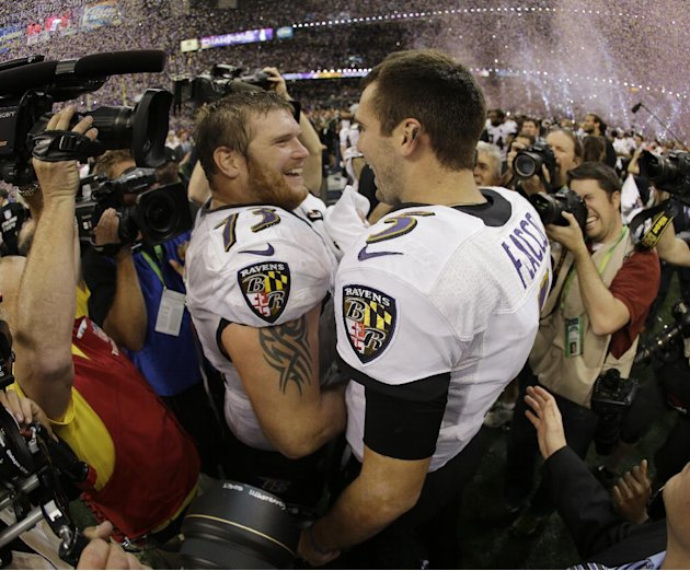 Baltimore Ravens quarterback Joe Flacco (5) and offensive lineman Marshal Yanda (73) celebrate their team's 34-31 win against the San Francisco 49ers in the NFL Super Bowl XLVII football game, Sunday,