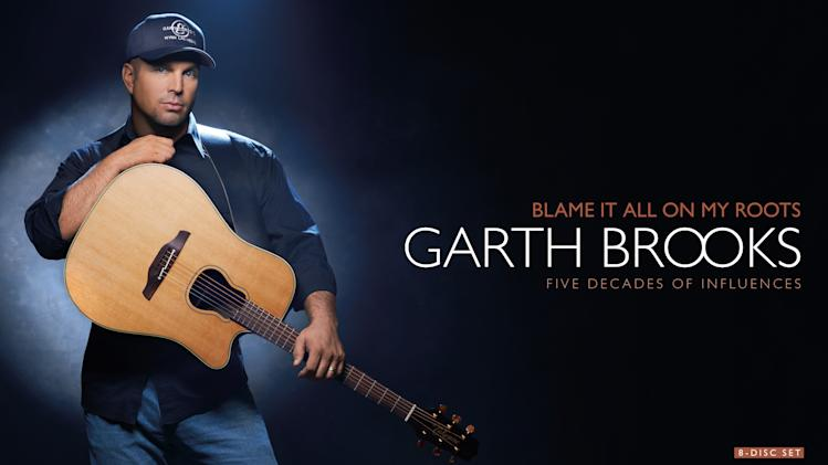 "This product image provided by Nancy Seltzer & Associates, Inc. shows the cover of Garth Brooks' 8-disc box set, ""Blame It All On My Roots."" (AP Photo/Nancy Seltzer & Associates, Inc.)"