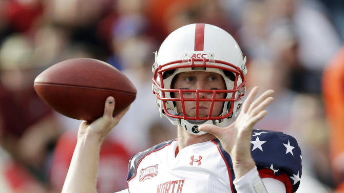Senior Bowl North Squad quarterback Mike Glennon of North Carolina State (8) looks for a receiver in the first half of the Senior Bowl college football game at Ladd-Peebles Stadium in Mobile, Ala., Saturday, Jan. 26, 2013. (AP Photo/Dave Martin)