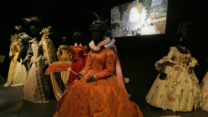 A selection of costumes showing various designs and outfits worn by actress playing royal and regal  characters seen at the Hollywood Costume exhibition at the Victoria and Albert museum in London, Tuesday, Oct. 16, 2012. The show at the Victoria and Albert Museum showcases more than one hundred movie costumes from a century of film-making. The exhibition opens to the public on Oct. 20, 2012 and run till 27 Jan. 2013.(AP Photo/Alastair Grant)