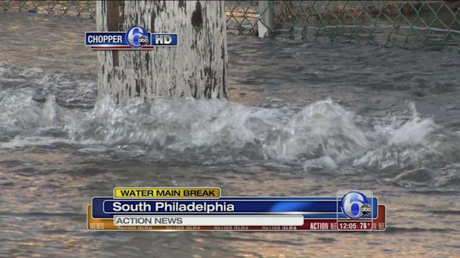 12 inch water main break in South Phila.