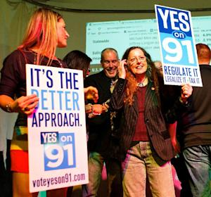 Supporters for the legalization of marijuana celebrate…