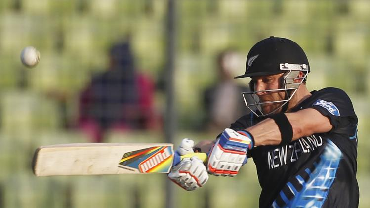New Zealand's captain McCullum plays ball against Pakistan during warm-up match of ICC Twenty20 World Cup in Dhaka