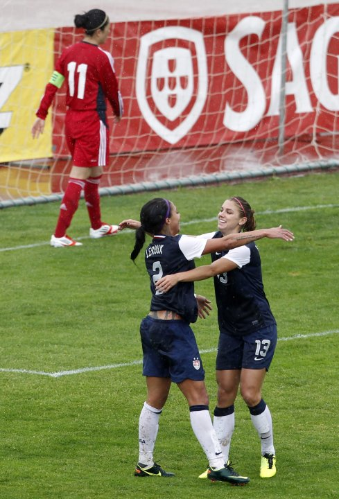 Leroux of the U.S. celebrates with Morgan after scoring a goal against China during their women's Algarve Cup soccer match in Albufeira