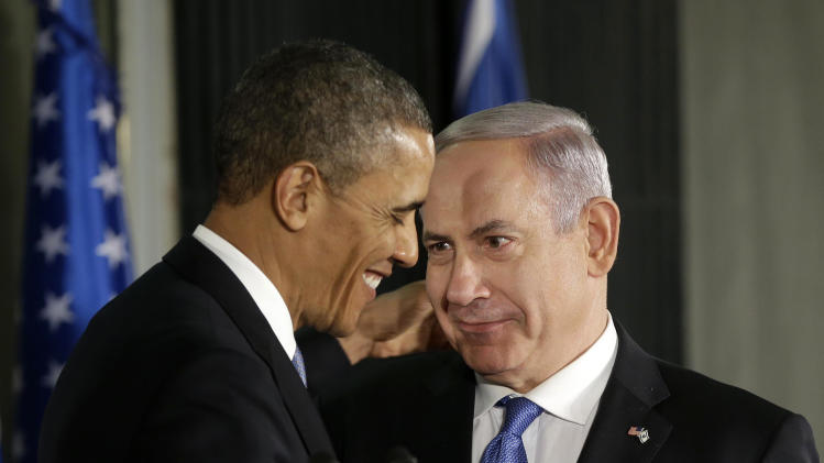 President Barack Obama and Israeli Prime Minister Benjamin Netanyahu talk during their joint news conference in Jerusalem, Israel,Wednesday, March 20, 2013, (AP Photo/Pablo Martinez Monsivais)