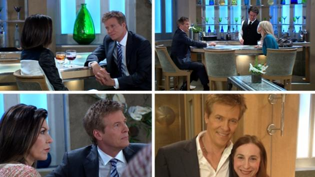 Jack Wagner shoots scenes as Frisco Jones on 'General Hospital,' and poses for a photo with our producer, Sharon Spaeth (bottom right)  -- Access Hollywood