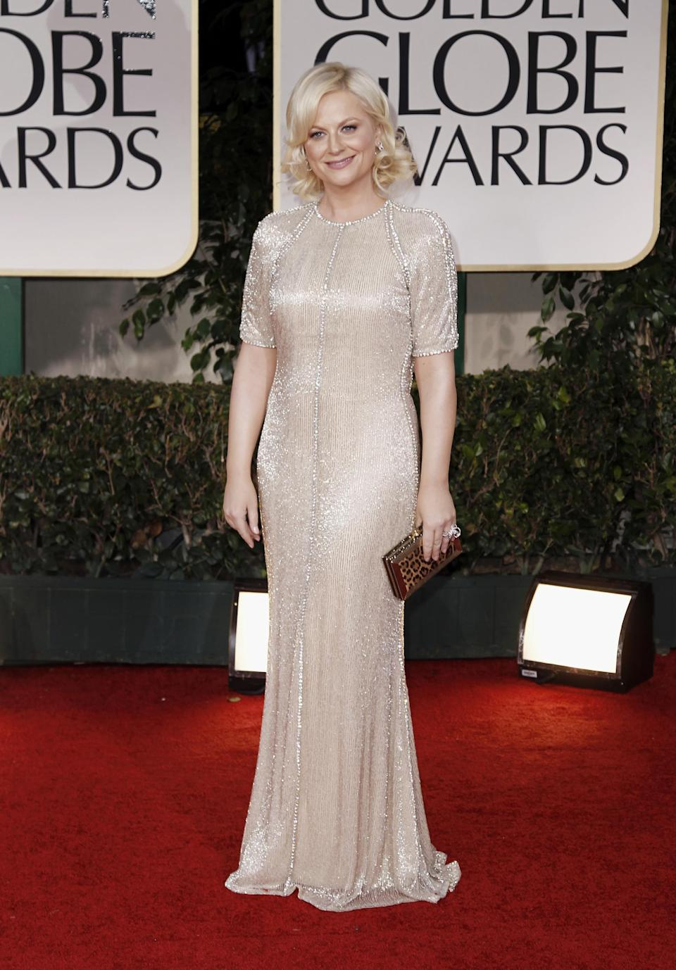Amy Poehler arrives at the 69th Annual Golden Globe Awards Sunday, Jan. 15, 2012, in Los Angeles. (AP Photo/Matt Sayles)