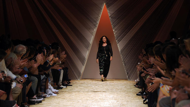 Angela Missoni takes the catwalk at the end of her men's Spring-Summer 2014 collection, part of the Milan Fashion Week, unveiled in Milan, Italy, Sunday, June 23, 2013. (AP Photo/Giuseppe Aresu)