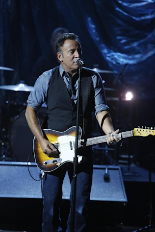 In this photo provided by NBC, Bruce Springsteen performs during &quot;Hurricane Sandy: Coming Together&quot; Friday, Nov. 2, 2012, in New York. Hosted by Matt Lauer, the event is heavy on stars identified with New Jersey and the New York metropolitan area, which took the brunt of this week&#39;s deadly storm. (AP Photo/NBC, Heidi Gutman)