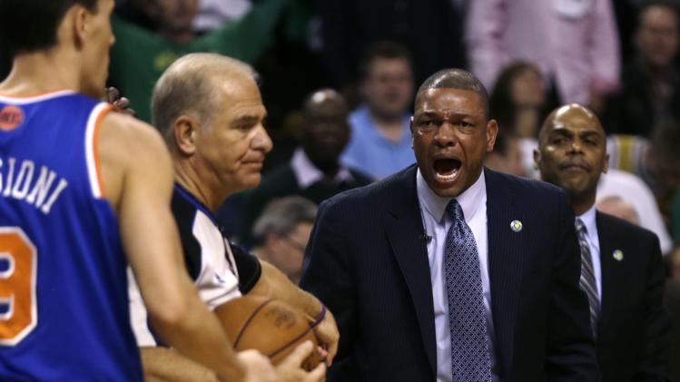 Boston Celtics head coach Doc Rivers argues a call with referee Bennett Salvatore during the second quarter in Game 6 of their first-round NBA basketball playoff series against the New York Knicks in Boston, Friday, May 3, 2013. (AP Photo/Charles Krupa)
