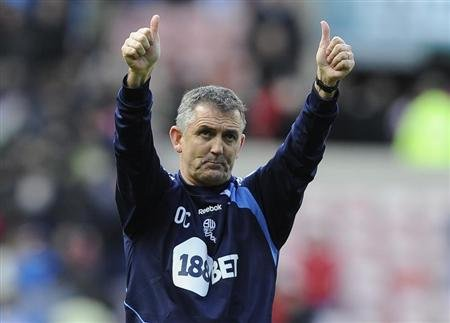 Bolton Wanderers' coach Coyle reacts after their English Premier League soccer match against Sunderland in Sunderland