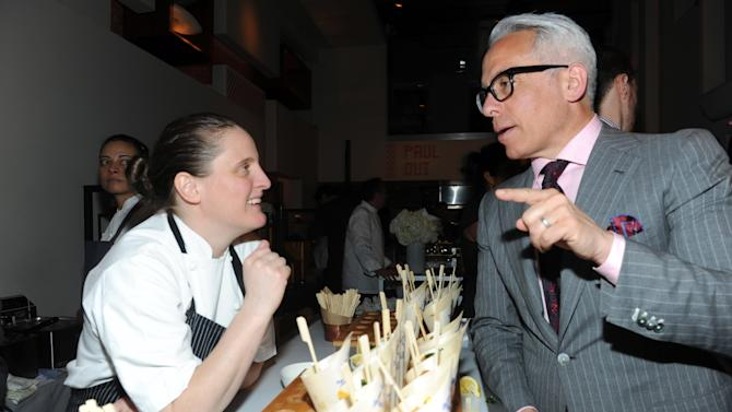 Chef Geoffrey Zakarian speaks with Best New Chef alum April Bloomfield at the 2013 FOOD & WINE Best New Chefs 25th anniversary celebration at Pranna in New York, Tuesday, April 2, 2013. (Photo by Diane Bondareff/Invision for FOOD & WINE/AP Images)