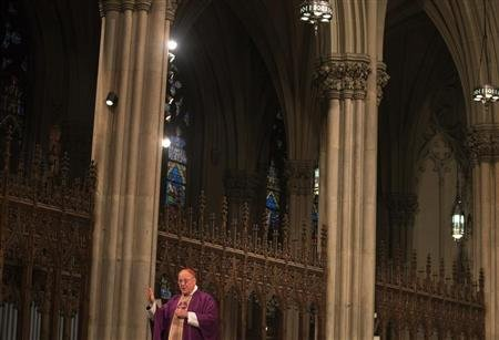 Cardinal Timothy Dolan, the Archbishop of New York, leads mass at Saint Patrick's Cathedral on Ash Wednesday in New York February 13, 2013. REUTERS/Adrees Latif