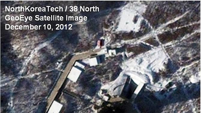 This Monday Dec. 10, 2012 satellite image provided by GeoEye and annotated by 38 North, shows recent activity at the Sohae rocket launching facility in Cholsan County, North Pyongan Province, North Korea. An analysis written for 38 North, the website of the U.S.-Korean Institute at John Hopkins Advanced International Studies, predicted it's likely to take until Dec. 12-13 to remove the Unha-3 rocket and more than a week to repair it, meaning a launch is unlikely before Dec. 21-22. (AP Photo/GeoEye, 38 North, North Korea Tech)