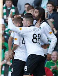 Georgios Samaras, right, was on target again for Celtic