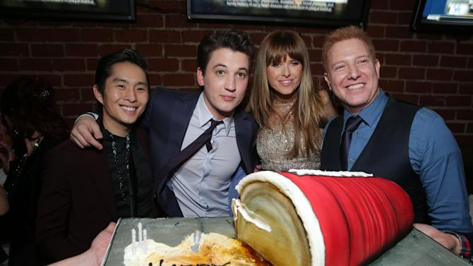 """Justin Chon, Miles Teller, Sarah Wright and Relativity Media's Ryan Kavanaugh at the LA premiere of """"21 and Over"""" at the Westwood Village Theatre on Thursday, Feb. 21, 2013 in Los Angeles. (Photo by Eric Charbonneau/Invision/AP)"""