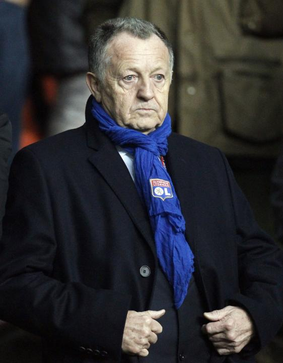 Olympique Lyon's chairman Aulas looks on before their French Ligue 1 soccer match against St Etienne at the Geoffroy Guichard stadium in Saint-Etienne