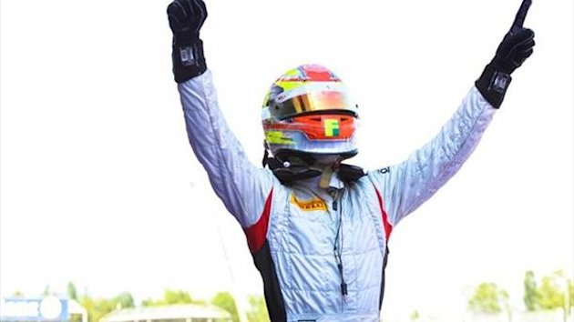 Robin Frijns celebrates victory (GP2 Official)
