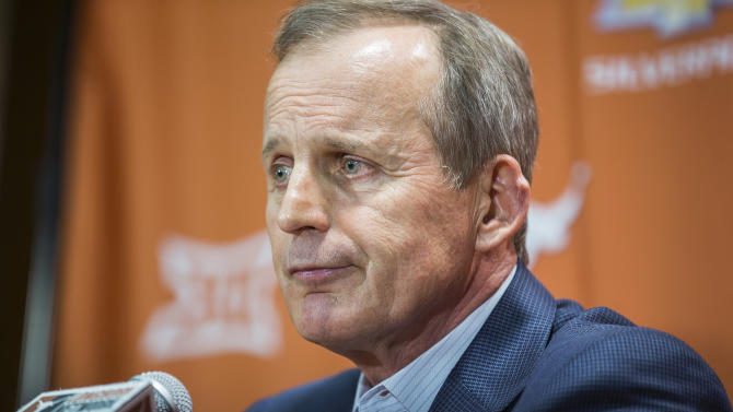 Fired Texas basketball coach Rick Barnes speaks during a news conference Sunday, March 29, 2015, in Austin, Texas. Barnes fought back tears in saying goodbye to Texas after 17 years, insisting he's grateful for his time with Longhorns and isn't bitter about being fired. (AP Photo/Austin American-Statesman, Ricardo B. Brazziell)