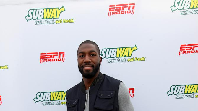 Greenbay Packers wide receiver Greg Jennings seen outside of the Subway Fresh Take Green Room, on Friday, Feb. 1, 2013 in New Orleans. (Photo by Barry Brecheisen/Invision for SUBWAY/AP Images)