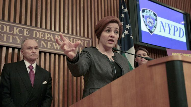 """FILE- In this May 8, 2012 file photo, New York City Council Speaker Christine Quinn, right, is joined by Police Commissioner Raymond W. Kelly during a news conference at Police headquarters in New York. On Tuesday, March 19, 2103, Quinn stated that city lawmakers have reached """"broad agreement"""" on a plan to create an inspector general to oversee the New York Police Department. (AP Photo/Mary Altaffer, File)"""
