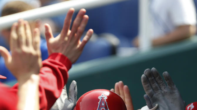 Los Angeles Angels' Josh Hamilton is congratulated by teammates after his solo home run in the seventh inning of a baseball game against the Kansas City Royals at Kauffman Stadium in Kansas City, Mo., Saturday, May 25, 2013. (AP Photo/Orlin Wagner)