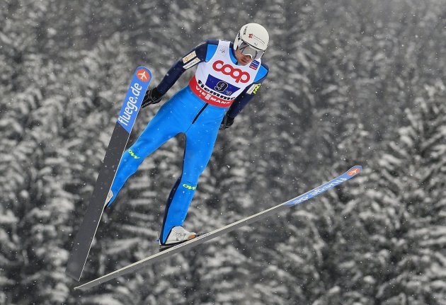 France's Chappuis jumps in the Nordic Combined Team Gundersen competition at the Nordic Ski World Championships in the northern mountain resort of Predazzo in Val di Fiemme