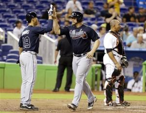 Gattis, Minor lead Braves past Marlins 8-0