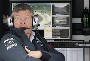 Mercedes Formula One team principal Ross Brawn looks on during the first practice session of the German F1 Grand Prix at the Nuerburgring racing circuit