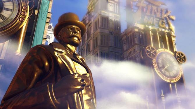 Aboard the floating city of Columbia in 'BioShock Infinite'
