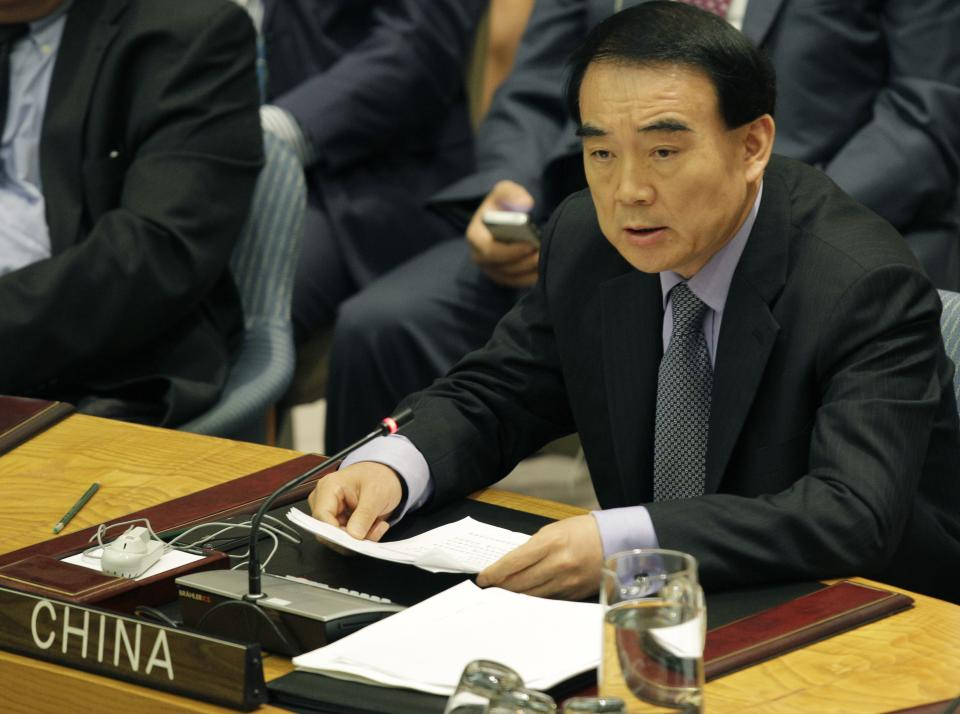 China's U.N. Ambassador Li Baodong speaks during a Security Council meeting on the situation in Syria at the United Nations  headquarters, Thursday, July 19, 2012.  China and Russia vetoed a Security Council resolution to impose non-military sanctions on Syria. (AP Photo/Kathy Willens)