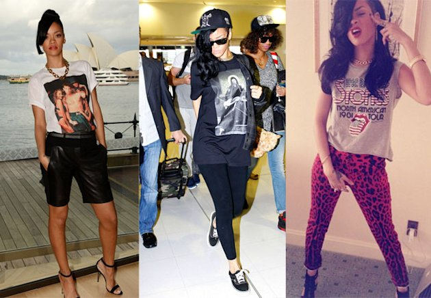 Rihanna's Developing An Eighties T-Shirt Obession - Get Her Look Here