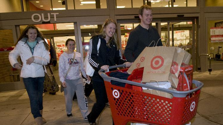 Target shoppers load up on merchandise Thursday Nov. 22, 2012 at the Target store in Roseville, Minn. (Dawn Villella/AP Images for Target)