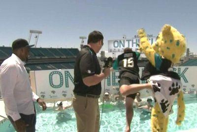Jaguars fan announces team's pick, gets thrown into pool by mascot
