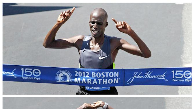 Kenya's Wesley Korir, top, and compatriot Sharon Cherop, bottom, are shown winning the men's and women's divisions of the 116th Boston Marathon in Boston, Monday, April 16, 2012. Korir finished in 2 hours, 12 minutes, 40 seconds. Cherop finished in 2 hours, 31 minutes, 50 seconds. (AP Photo/Charles Krupa)