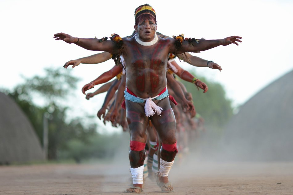 Yawalapiti youth chief Anuia leads a dance in the Xingu National Park