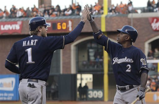 Brewers send Giants to 4th straight loss, 6-4