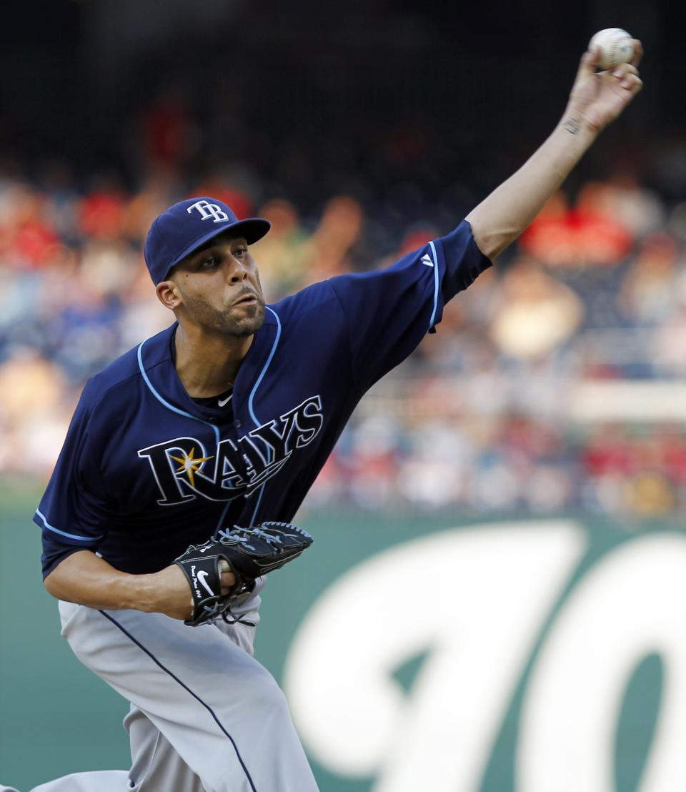 Tampa Bay Rays starting pitcher David Price throws during the first inning of a baseball game against the Washington Nationals at Nationals Park on Tuesday, June 19, 2012, in Washington. (AP Photo/Alex Brandon)