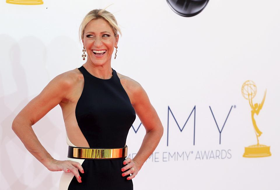 Edie Falco arrives at the 64th Primetime Emmy Awards at the Nokia Theatre on Sunday, Sept. 23, 2012, in Los Angeles. (Photo by Matt Sayles/Invision/AP)