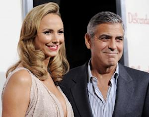 Stacy Keibler and George Clooney arrive at the Los Angeles Premiere 'The Descendants' in Beverly Hills, Calif. on November 15, 2011  -- Getty Premium