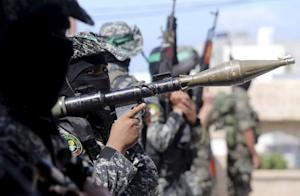 Hamas militants attend the funeral of Palestinian Jihad…