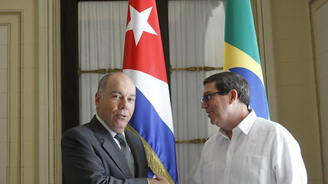 Cuba's Foreign Minister Bruno Rodriguez Parrilla receives his Brazilian counterpart Mauro Vieira during an official visit in Havana