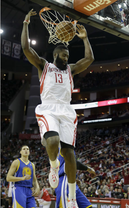 Harden scores 34, Rockets beat Warriors 105-83