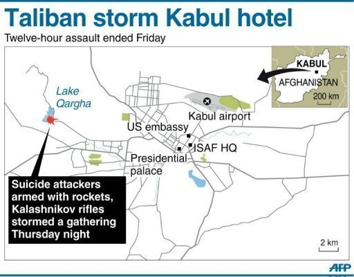 Graphic showing the location of Lake Qargha near Kabul where a militant assault on a hotel ended Friday