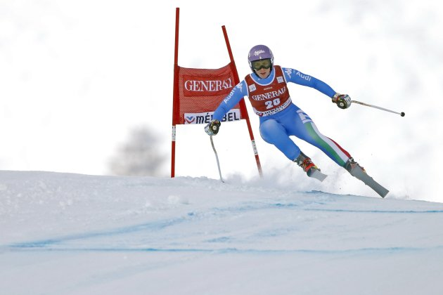 Elena Curtoni of Italy skis during the women's World Cup super combined downhill race in Meribel