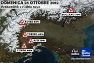 Neve: le citta a rischio domenica