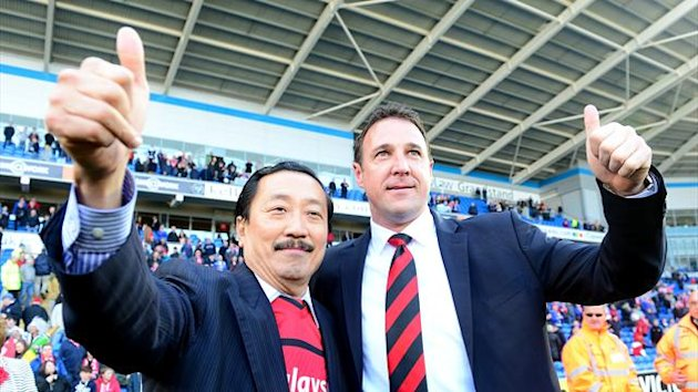 Cardiff City Chairman Vincent Tan (left) and manager Malky Mackay (PA Photos)